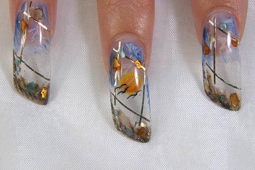 новинка ногтевого дизайна - мокрый аквариум
