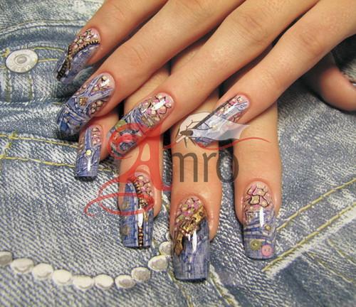 джинсовый дизайн ногтей