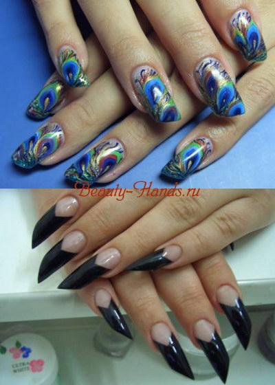 скошенная форма ногтей