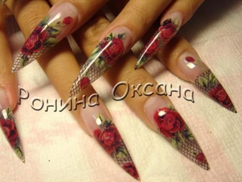 дизайн острых ногтей
