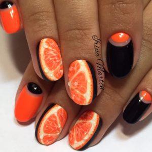 Оранжево-черный маникюр