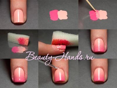 градиентный дизайн ногтей