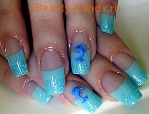 """Дизайн ногтей морская тема """"Дельфины"""""""