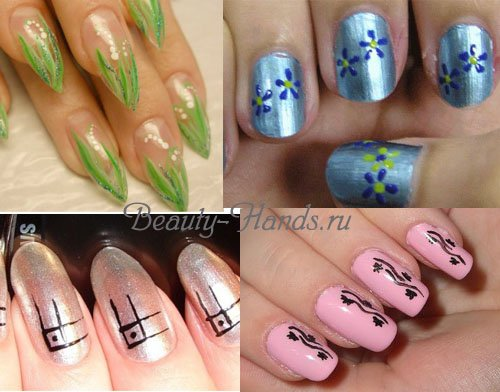нежный рисунок на ногтях