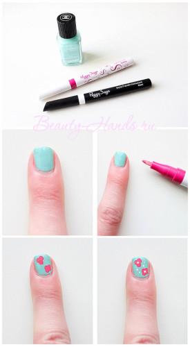 рисунок на ногтях карандашами